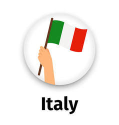 italy flag in hand round icon vector image