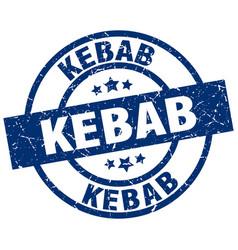 Kebab blue round grunge stamp vector