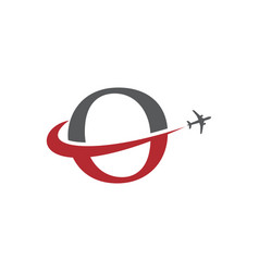 letter o travel airplane logo vector image