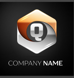 letter q logo symbol in the colorful hexagonal on vector image
