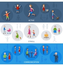 Lifestyle People Banner Set vector