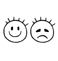 Line sad and cheerful smiley emoticons icons vector