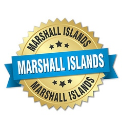 Marshall Islands round golden badge with blue vector