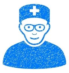 Medical specialist grainy texture icon vector