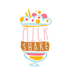 Milk shake logo template badge for restaurant vector
