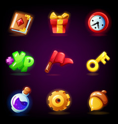 Mobile game icons set isolated on dark background vector