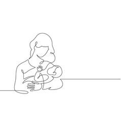 Mother and baby line mom hugs child motherhood vector