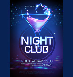 neon disco cocktail party poster vector image