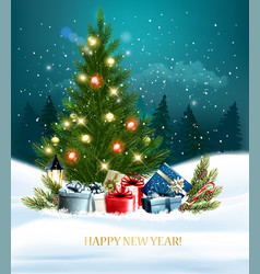 New year holiday background with a colorful gift vector