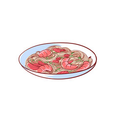 Noodles with shrimp isolated icon vector