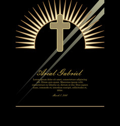 obituary template with golden cross and light vector image