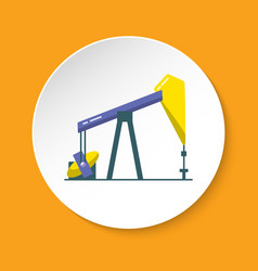 oil rig icon in flat style on round button vector image