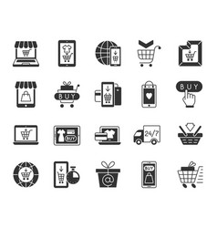 online shop black silhouette icons set vector image