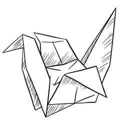 Paper bird on white background vector