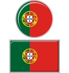 Portuguese round and square icon flag vector