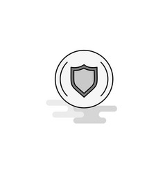 Protected sheild web icon flat line filled gray vector