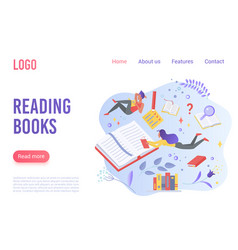 reading books flat landing page template vector image
