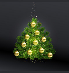realistic christmas green tree with gold toys vector image