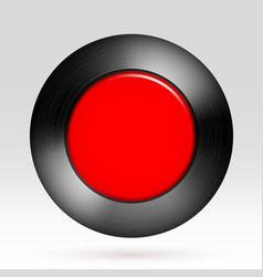 red button metal texture round frame design vector image
