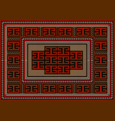 Rug with ethnic geometric ornament on beige center vector