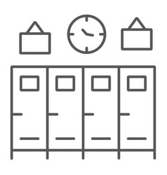 School lockers thin line icon gym and changing vector