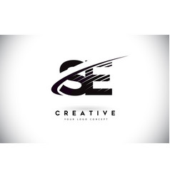 Se s e letter logo design with swoosh and black vector