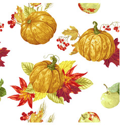 Seamless pattern with bright harvest season vector