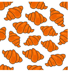 seamless pattern with french croissants hand vector image