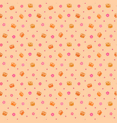 seamless pattern with sushi and sakura flowers vector image