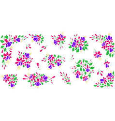 Set floral flat style vector