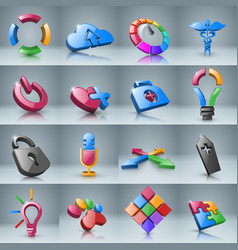 Set infographic 3d icon vector