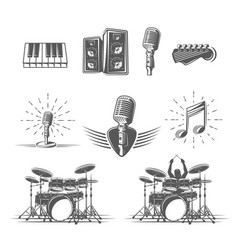 set musical instruments isolated on a white vector image