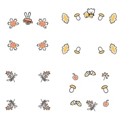 Set of autumn frames Cute vector image