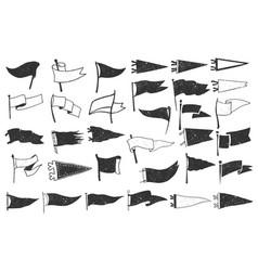 Set textured pennants retro monochrome labels vector