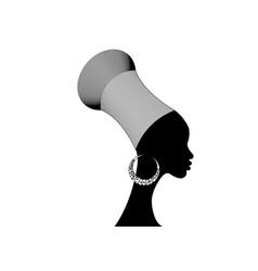 Silhouette young african zulu woman in turban vector