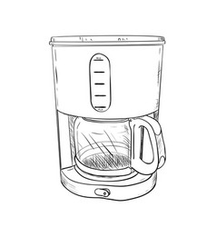 Sketch of electric coffee maker vector