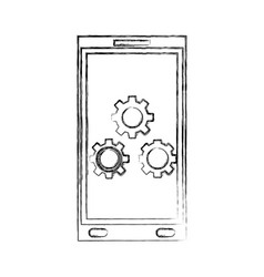 smartphone gears settings technology device hand vector image