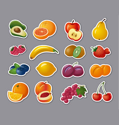 stickers of fruits and berries vector image