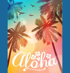 Summer beach aloha inspiration card vector