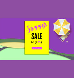 summer sale banner with discount action promo vector image