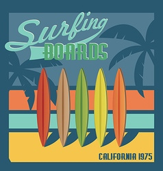 Surfing boards California typography t-shirt vector