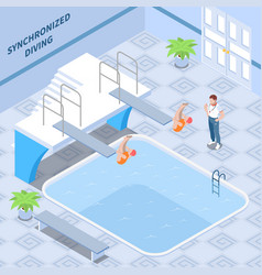 synchronized diving isometric composition vector image