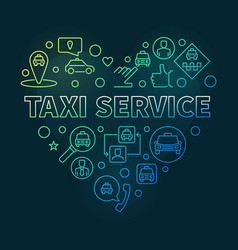 taxi service heart concept linear colored vector image