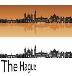 The hague skyline in orange vector
