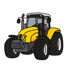 The yellow heavy tractor vector