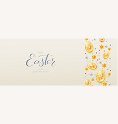 three-dimensions easter with decorative border vector image