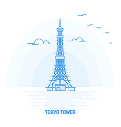 tokyo tower blue landmark creative background and vector image