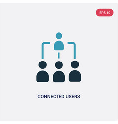 Two color connected users in flow chart icon from vector