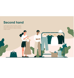 Two female characters are second hand shopping vector