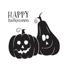 Two pumpkins smile Halloween symbol vector